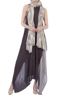ecru-beige-shibori-wool-scarf