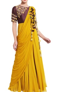 mustard-resham-work-draped-anarkali