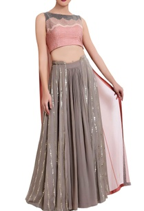 salmon-pink-and-grey-moti-crop-top-and-skirt