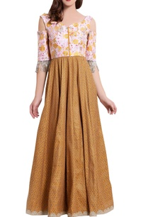 mustard-cut-dana-work-anarkali-suit