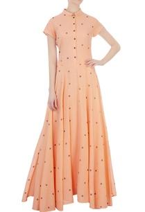 light-orange-dot-motif-jamdani-maxi-dress