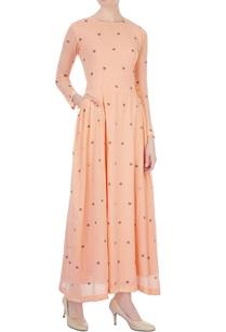 tangerine-polka-dot-hand-woven-maxi-dress