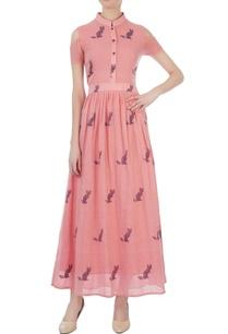 pink-jamdani-cold-shoulder-maxi-dress