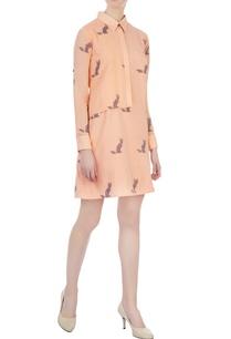 tangerine-hand-woven-collar-shirt-short-tunic