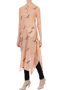 orange-asymmetric-jamdani-cat-motif-tunic