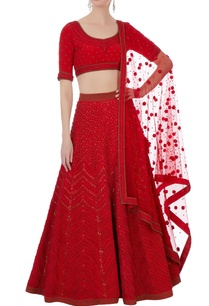 red-silk-cotton-chanderi-net-3d-embroidered-lehenga-set
