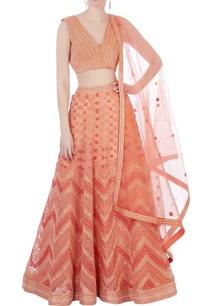 peach-silk-organza-chanderi-3d-embroidered-lehenga-set