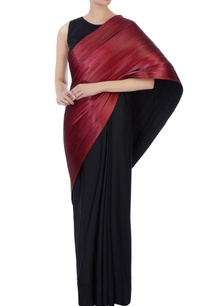 black-metallic-red-polyester-jersey-metal-wire-sari-with-blouse