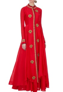 red-chanderi-cutdana-jacket-inner-dress