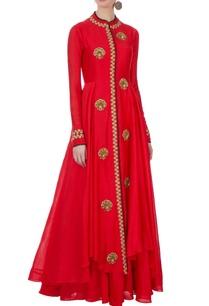 red-chanderi-cutdana-jacket-inner-dress