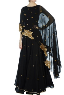 black-georgette-poncho-anarkali