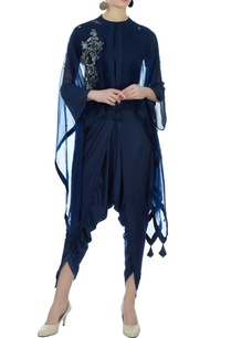 blue-satin-crop-top-with-dhoti-organza-cape
