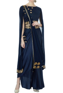 navy-blue-satin-dhoti-sari-set