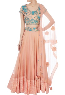 peach-hand-painted-banarasi-silk-lehenga-set