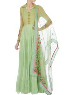 green-hand-painted-tiered-anarkali-with-dupatta