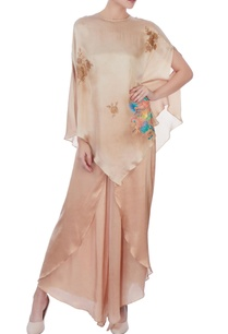 beige-satin-asymmetric-cape-tunic
