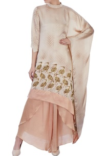 brown-beige-satin-cape-palazzos
