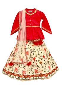 red-peplum-top-with-cream-lehenga-dupatta