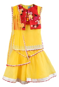 yellow-kurta-embroidered-jacket-set