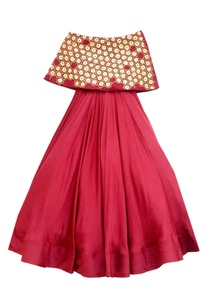 red-off-shoulder-flared-gown