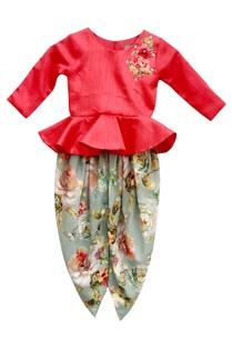 pink-peplum-choli-floral-dhoti-pants