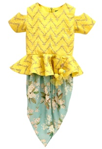 yellow-embroidered-kurta-dhoti-pants
