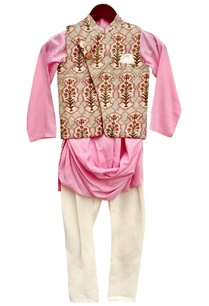 pink-draped-kurta-set-with-nehru-jacket