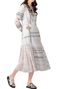grey-floral-embroidered-cotton-silk-dress