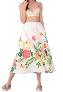 beige-printed-skater-skirt