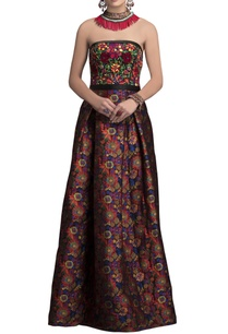 multicolored-bustier-brocade-gown