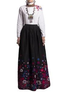 black-taffeta-skirt-oxford-shirt