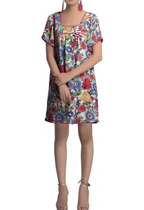 multicolored-georgette-short-dress