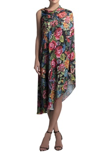 multicolored-crepe-printed-cape-dress