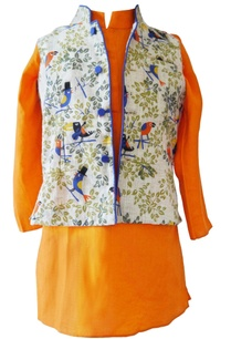 orange-bird-print-kurta-with-nehru-jacket