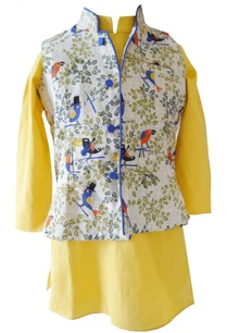 yellow-bird-print-kurta-with-nehru-jacket