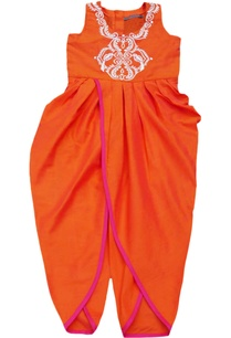 orange-embroidered-dhoti-jumpsuit