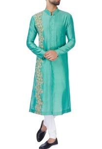 turquoise-blue-chanderi-silk-kurta