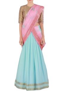 blue-embroidered-georgette-lehenga-sari-set