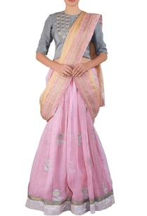pink-embroidered-organza-lehenga-sari-set