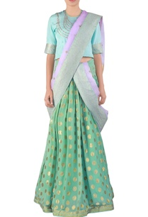 sea-green-embroidered-georgette-lehenga-sari-set