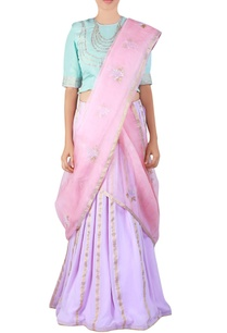 mauve-embroidered-georgette-lehenga-sari-set