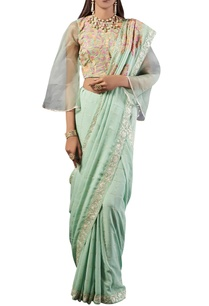 sea-green-check-print-georgette-sari-with-blouse