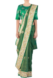green-embroidered-tissue-sari-with-blouse