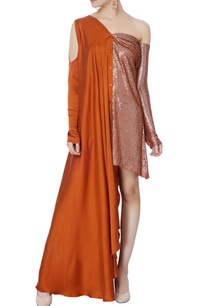 rust-orange-sequin-shirt-dress