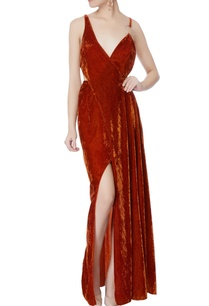 burnt-orange-velvet-cutout-gown