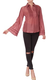 wine-silk-blouse-with-flared-sleeves