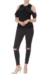 black-sequin-cold-shoulder-blouse