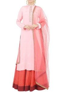 powder-pink-beaded-kurta-and-skirt-set