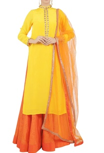 yellow-beaded-kurta-and-skirt-set