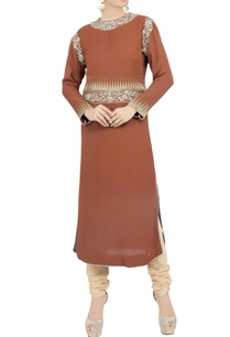 brown-zardozi-kurta-chudidar-set